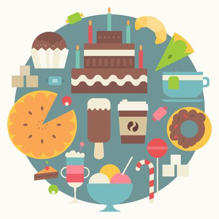 Raccolta di dolci in stile piatto. Dolci, cupcake, ciambella, gelato, croissant, torta grande, caffè su sfondo blu cerchio. Illustrazione di vettore. Design retrò.