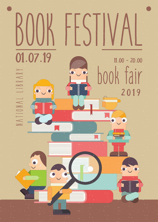 Poster for Book Festival, Fair, Reading Challenge. Small Cartoon People Reading and Sitting on Books. Retro Vector Illustration for Literature Event, Bookstore Advertising, Book Fair Banner. Ilustração