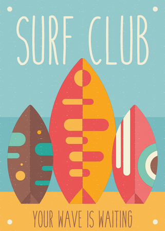 Surfing Poster. Surfboards on the Beach. Vector Illustration. Retro Design. Placard for Surfing Club, Website or Online Shop of Surf Equipment. Wave, Sand, Sun. Ilustração