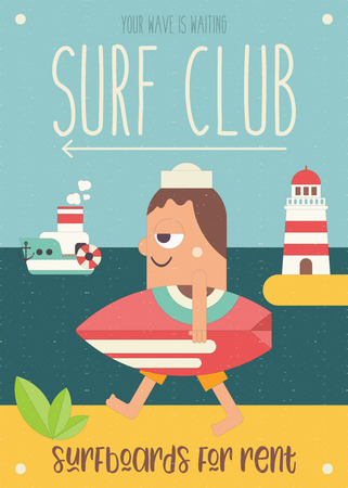 Surfing Poster. Funny Cartoon Surfer with Surfboard Walking along Beach. Vector Illustration. Retro Design. Placard for Surfing Club, Website or Online Shop of Surf Equipment. Hello Summer. Ilustração