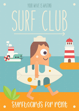 Surfing Poster. Cartoon Surfer with Surfboard Walking along Beach. Lighthouse and Steamship. Vector Illustration. Retro Design. Placard for Surfing Club, Website or Online Shop of Surf Equipment. Ilustração