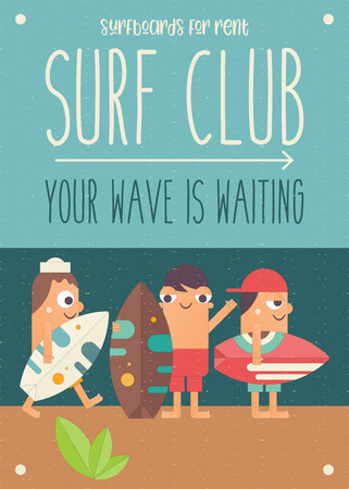 Surfing Poster. Funny Cartoon Surfers with Surfboard on Beach. Vector Illustration. Retro Design. Placard for Surfing Club, Website or Online Shop of Surf Equipment. Hello Summer. Ilustração