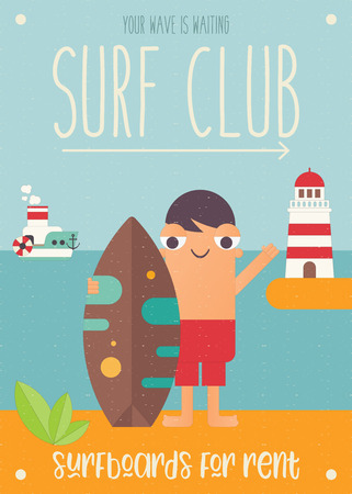 Surfing Poster. Funny Cartoon Surfer  with Surfboard, Lighthouse and Steamship. Vector Illustration. Retro Design. Placard for Surfing Club, Website or Online Shop of Surf Equipment. Hello Summer.