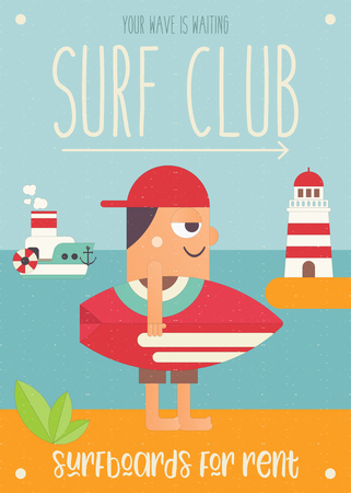 Surfing. Cartoon Surfer in Baseball Cap with Surfboard, Lighthouse and Steamship. Vector Illustration. Retro Design. Poster for Surfing Club, Website or Online Shop of Surf Equipment. Hello Summer.