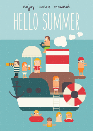 Boat with Cute Tourists. Cartoon People Swimming, Relaxation, Vacation at Sea. Vector Illustration. Retro Poster Flat Design. Hello Summer. Ilustração