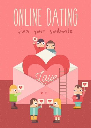 Online Dating Poster. Cute Cartoon People with Hearts. Idea of Internet or Remote Relationship, Wedding, Love. Big Heart in Envelope. Vector Illustration. Flat Design. Find your Soulmate. Ilustração