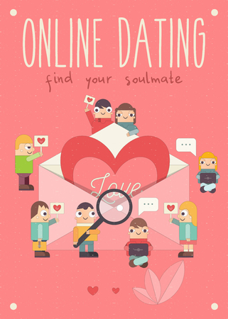 Online Dating Concept. Cute Cartoon People Send Love Email Messages via Mobile Gadgets. Idea of Internet or Remote Relationship. Big Heart in Envelope on Pink Background. Vector Illustration.