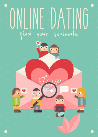 Online Dating Concept. Cartoon People Send and Receive Love Email Messages via Mobile Gadgets. Idea of Internet or Remote Relationship. Big Heart in Envelope. Vector Illustration. Find your Soulmate. Ilustração