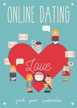 Online Dating Retro Poster. Cartoon People Send and Receive Love Email Messages via Mobile Gadget. Internet or Remote Relationship Concept. Vector Illustration. Vertical Format. Find your Soulmate.
