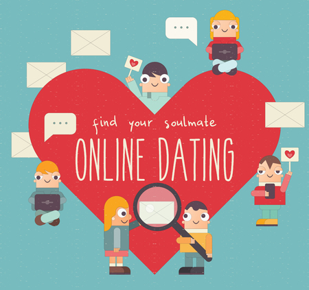 Online Dating Retro Poster. Cute Cartoon People Send and Receive Love Email Messages via Mobile Gadgets. Internet or Remote Relationship Concept. Vector Illustration. Flat Design. Find your Soulmate.
