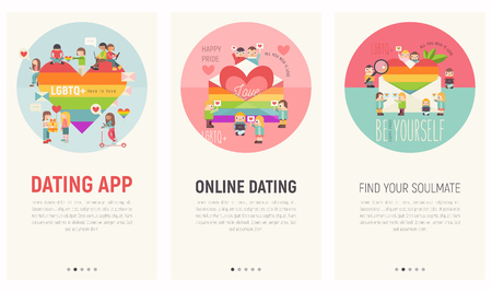 Mobile App Page Onboard Screen Set for Online Dating Site. Screens Template for LGBT People Community Website or Web Page. Vector Illustration. User Interface Kit in Flat Design.