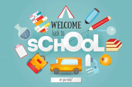 Welcome Back to School Card with School Supplies, Education Elements and Big White Paper Letters. Vector Illustration.