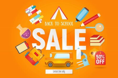 Back to School Sale Banner Design for Retail Marketing Promotion and School Shopping. Autumn Special Offer. Orange Background. Vector Illustration.