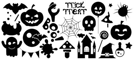 Collection of Halloween Silhouettes Black Icon on a White Background. Vector Illustration.