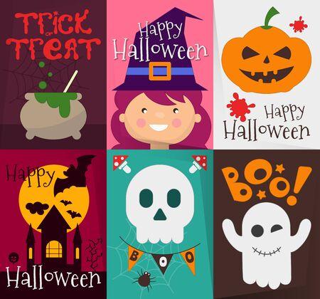Happy Halloween Fun Posters Set with Halloween Symbols. Vector Illustration.
