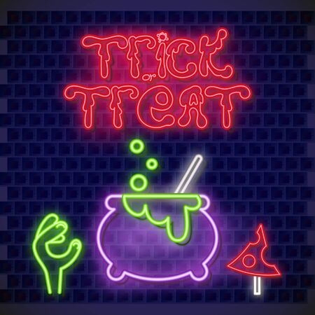 Halloween Card. Trick or Treat Neon Banner with Neon Pot, Zombie Hand and Amanita. Brick Wall Background. Vector Illustration.