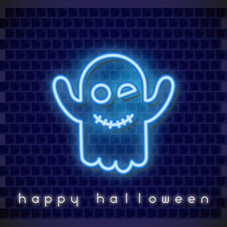 Halloween  Neon Banner with Neon Ghost. Brick Wall Background. Vector Illustration.