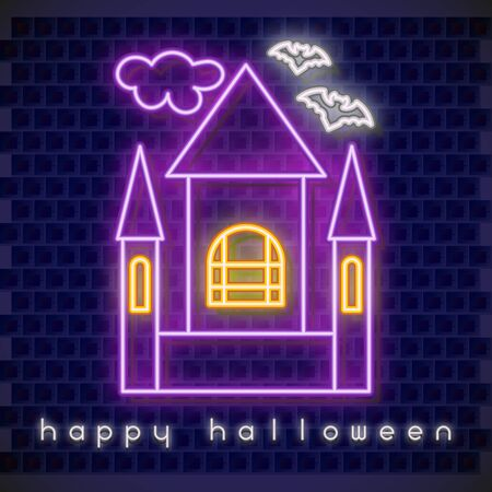 Halloween Neon Banner with Neon Castle. Brick Wall Background. Vector Illustration.