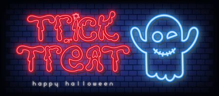 Halloween Card. Trick or Treat Neon Banner with Neon Ghost. Brick Wall Background. Vector Illustration.