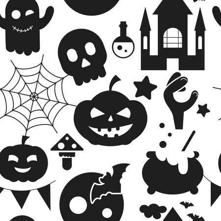 Halloween holiday seamless pattern, october background with halloween symbols - pumpkin, skull, ghost, spider web, bat, castle, hand. Vector illustration black and white. Great for wrapping paper. Stock Illustratie