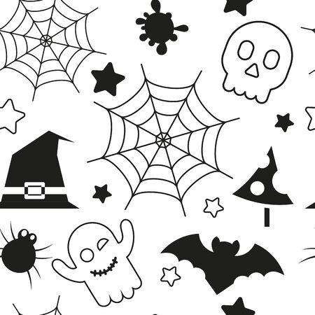 Halloween holiday seamless pattern, october background with halloween symbols - hat, skull, ghost, spider web, bat, spider. Vector illustration black and white. Great for wrapping paper. Stock Illustratie