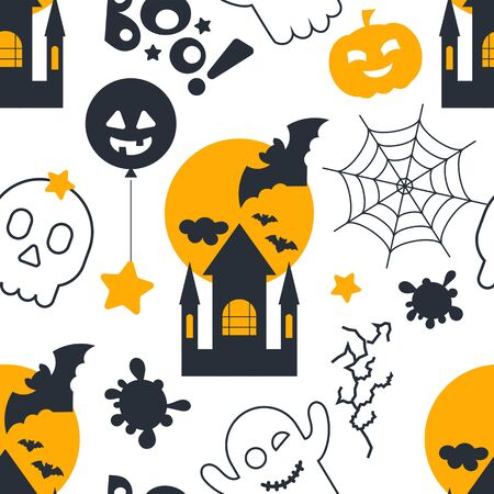 Halloween holiday seamless pattern, october background with halloween symbols - castle, pumpkin, ghost, bat, boo, skull. Colorful Vector illustration. Great for wrapping paper.