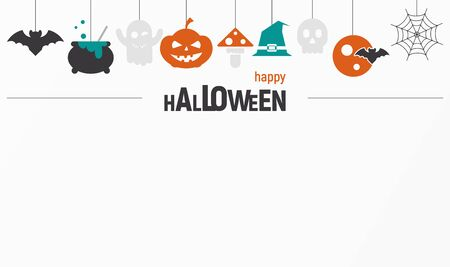 Happy Halloween Invitations or Greeting Card with Place for Text. Halloween Icons on Paper Background. Vector Illustration.