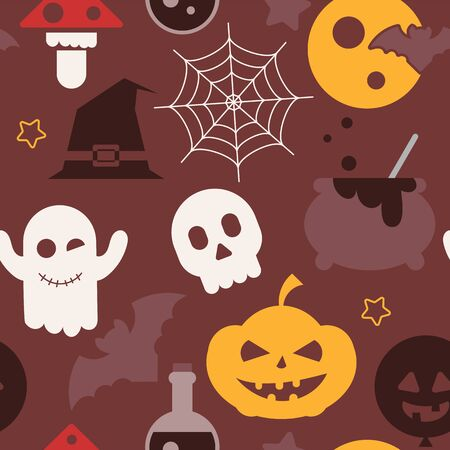 Halloween holiday seamless pattern, october background with halloween symbols - magical potion, pumpkin, ghost, bat, skull. Colorful Vector illustration. Great for wrapping paper. Stock Illustratie