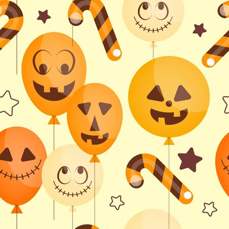 Halloween holiday seamless pattern, october background with funny balloons and candy cane. Colorful Vector illustration. Great for wrapping paper. Stock Illustratie