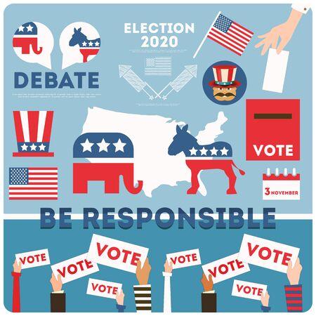 Set of voting symbols for presidential election USA 2020. American presidential election voting concept. Vector illustration.