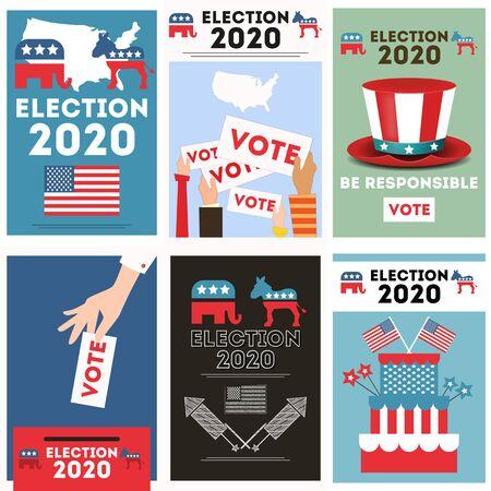 Poster set for presidential election USA 2020. American presidential election voting concept. Vector illustration. Stock Illustratie