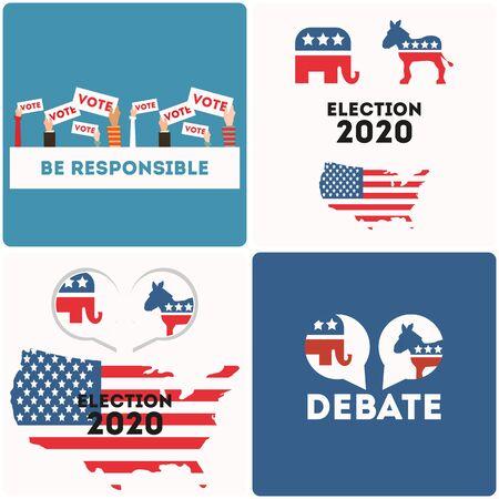 Banner set for presidential election USA 2020. American presidential election voting concept. Vector illustration.