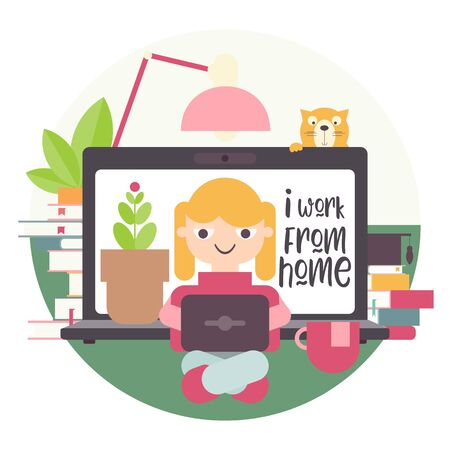 Stay Home Work Home. Home Office Metaphor. Freelancer Girl Working at Home. Stay Safe on Quarantine During the Coronavirus Epidemic. Vector Illustration. Flat Style. Stock Illustratie