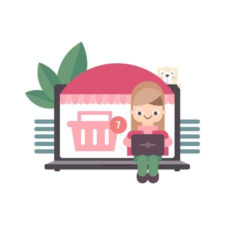 Big Laptop and Girl who Do Online Shopping. Vector Illustration. E-commerce Concept. Stock Illustratie