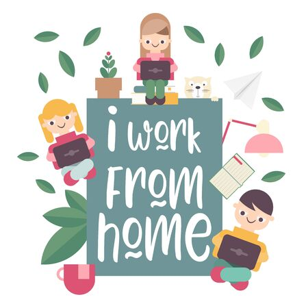 Stay Home Work Home. Home Office Metaphor. Freelancer Working at Home. Stay Safe on Quarantine During the Coronavirus Epidemic. Vector Illustration.
