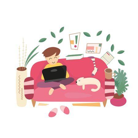 Stay Home Work Home. Home Office Metaphor. Freelancer Boy Work at Home. Stay Safe on Quarantine During the Coronavirus Epidemic. Vector Illustration. Stock Illustratie
