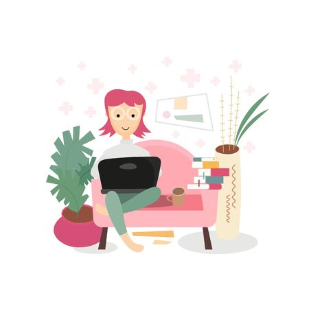 Stay Home Work Home. Home Office Metaphor. Freelancer Girl Working at Home. Stay Safe on Quarantine During the Coronavirus Epidemic. Vector Illustration. Flat Style. Happy woman sitting on sofa with laptop.