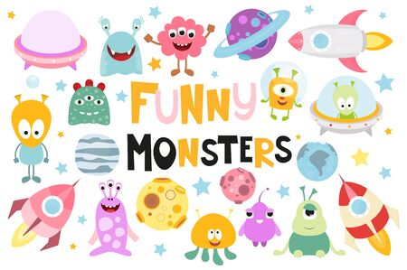 Funny Monsters Space Set. Cute Aliens, Planets, Rockets, UFO. Isolated on White background. Vector illustration.