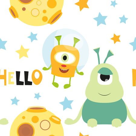 Funny Space Monsters Seamless pattern - Cartoon Cute Aliens and Planets. Space background. Vector Illustration. Print for Wallpaper, Baby Clothes, Greeting Card, Wrapping Paper. Text Hello.
