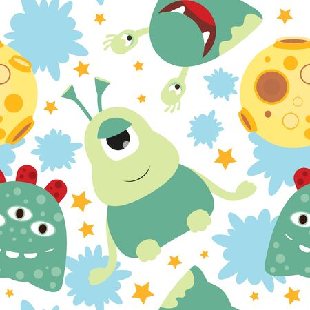 Funny Space Monsters Seamless pattern - Cartoon Cute Aliens and Planets. Vector Illustration. Print for Wallpaper, Baby Clothes, Wrapping Paper. Pattern don't contain gradients and clipping masks.