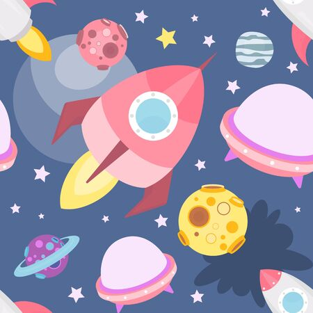 Space Seamless pattern - Cartoon Planets and Rockets. Space background. Vector Illustration. Print for Wallpaper, Baby Clothes, Greeting Card, Wrapping Paper.