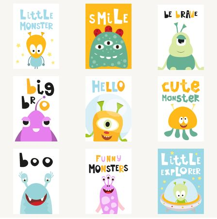 Funny Space Monsters Posters Set - Cartoon Aliens and Galaxy Monsters with Shuttles, Rockets and Spaceships. Kids Illustration for Baby Clothes, Greeting Card, Nursery Decor. Vector Illustration.