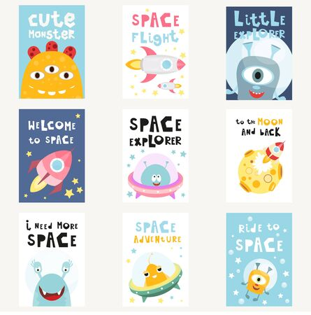Space Posters Set - Cartoon Aliens and Galaxy Monsters with Shuttles, Rockets and Spaceships. Kids Illustration for Baby Clothes, Greeting Card, Nursery Decor. Vector Illustration. Stock Illustratie