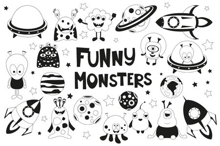 Funny Monsters Space Set. Monochrome Cute Aliens, Planets, Rockets, UFO. Isolated on White background. Vector illustration. Black and White Cliparts.