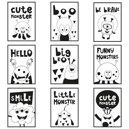 Cartoon Funny Monsters - Monochrome Posters Set. Kids Prints for Baby T-shirt, Greeting Card, Nursery Decor. Vector Illustration. Black and White Placards. Stock Illustratie