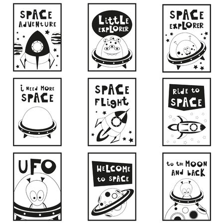 Monochrome Posters Set - Cartoon Aliens and Galaxy Monsters with Shuttles, Space Rockets. Kids Prints for Baby T-shirt, Greeting Card, Nursery Decor. Vector Illustration. Black and White Placards. Stock Illustratie