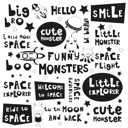 Space Phrases Set. Black and White Hand Drawn Motivation Quotes, Phrases and Words. Vector Illustration. Monochrome Cliparts.