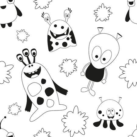 Seamless pattern - Cartoon Funny Monsters. Black and White Wall Art background. Monochrome Vector Illustration. BW Print for Wallpaper, Baby Clothes, Wrapping Paper.