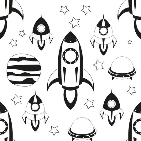 Space Seamless pattern - Cartoon Rockets and UFO. Black and White Space background. Monochrome Vector Illustration. BW Print for Wallpaper, Baby Clothes, Greeting Card, Wrapping Paper.