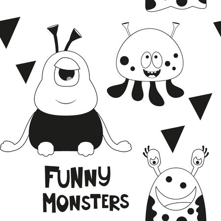 Space Seamless pattern - Cartoon Aliens. Black and White Space background. Monochrome Vector Illustration. BW Print for Wallpaper, Baby Clothes, Wrapping Paper. Text Funny Monsters. Stock Illustratie